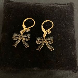 Elegant Kate Spade Golden Black Bow Earrings